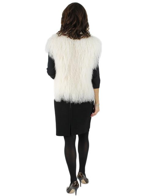 Lamb Fur Vest w/ Satin Tie Closure