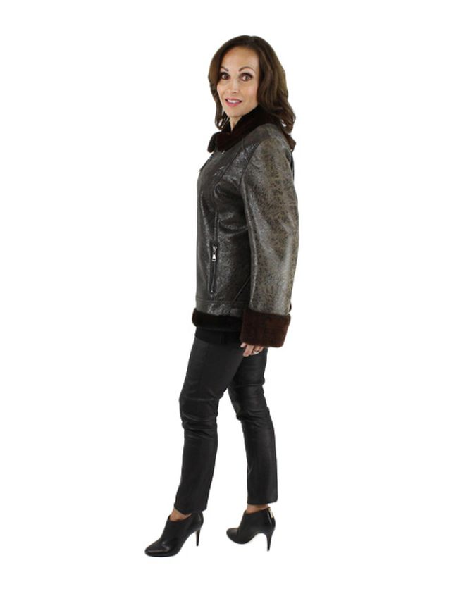 Fitted Shearling Jacket w/ Shearling Collar