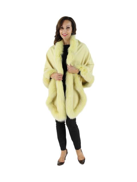 Beautiful Lemon Parfait Cashmere Wrap with Snowtop Fox Trim