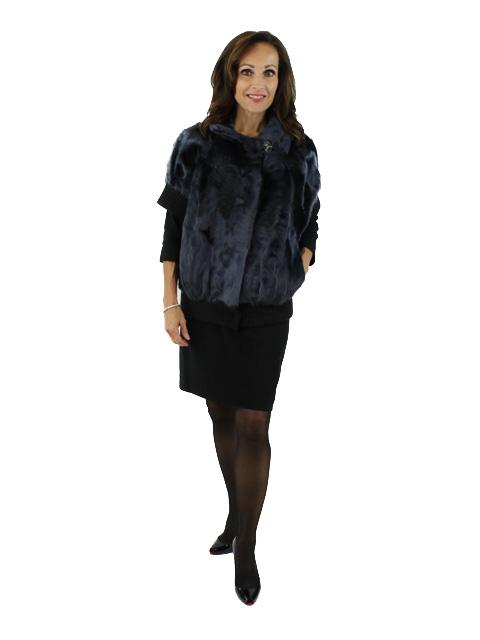 Gorski Woman's Navy Lamb Fur Jacket