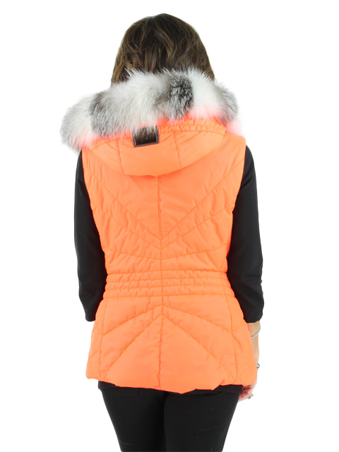 Fabric Vest w/ Fox Fur Trim