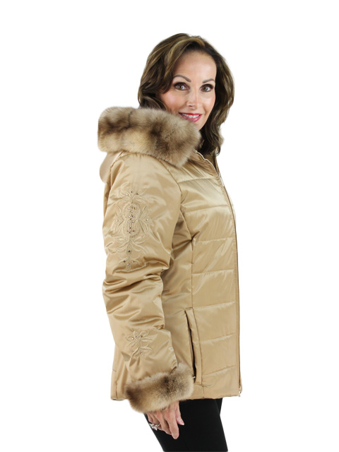 Fabric w/ Sable Fur Jacket