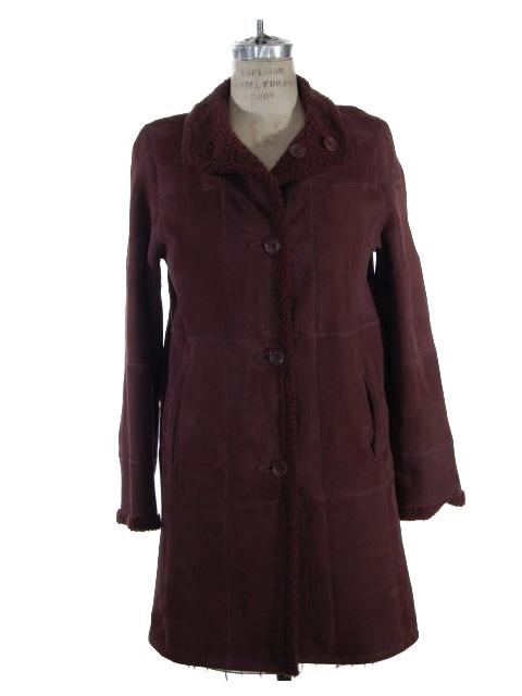Wonderful Wine Shearling Lamb Jacket Reversible to Shearling