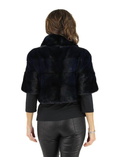 Navy Bolero Mink Fur Jacket