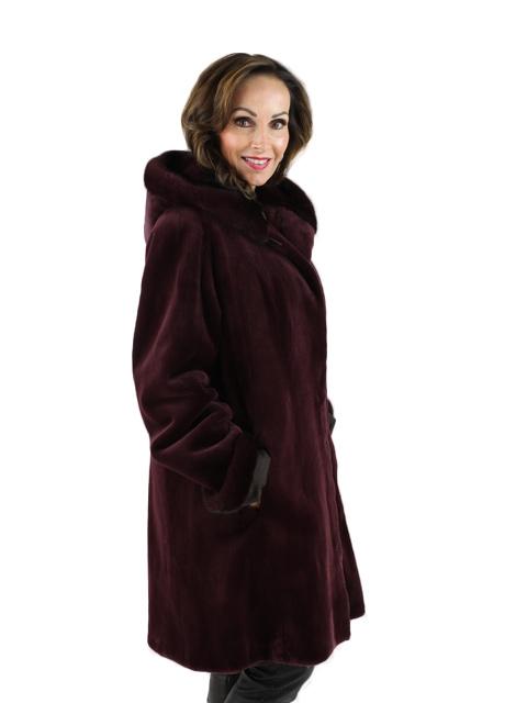 Wine Sheared Mink Fur Stroller