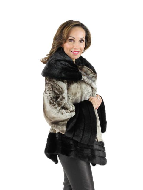 Platinum Animal Print Semi Sheared Mink Jacket
