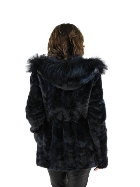 Navy Blue Mink Scalloped Jacket with Fox Hood