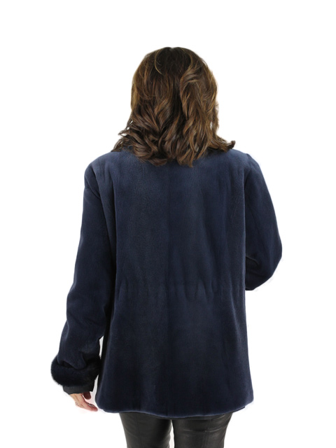 Ocean Blue Sheared Mink Fur Jacket