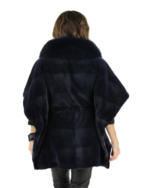 Denim Blue Sheared Mink Cape with Fox Collar