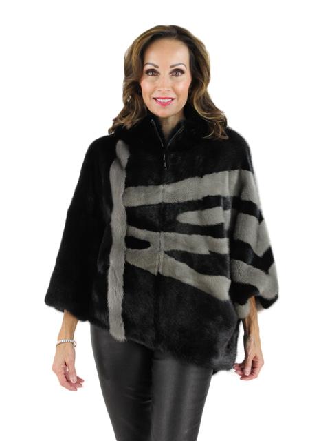 Black Mink Fur Poncho