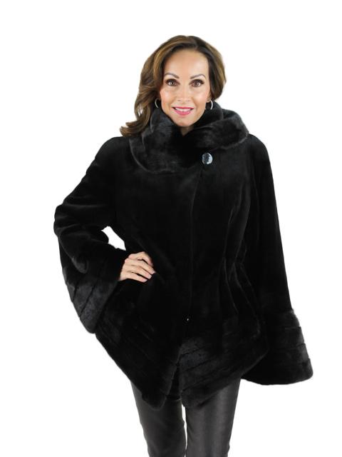 Black Paisley Sheared Mink Jacket