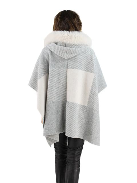 Beige Grey Wool Fox Hooded Cape