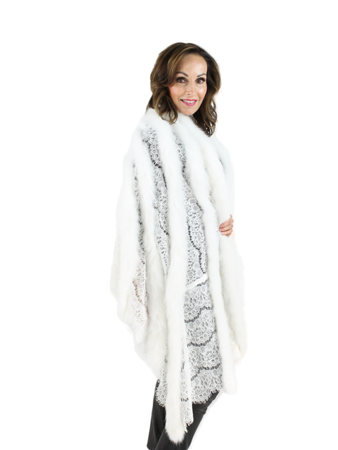 White Fox Lace Fur Shawl