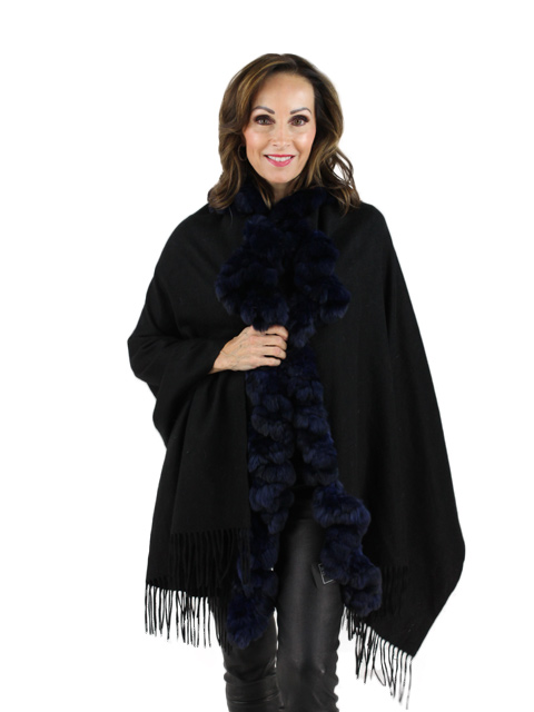 Navy Cashmere and Chinchilla Stole