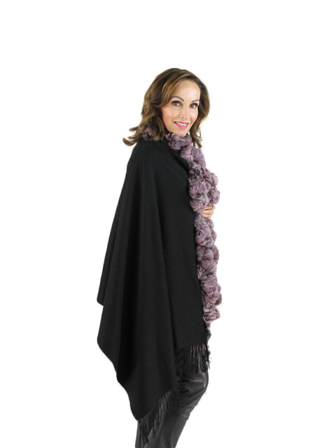 Black Cashmere Pink Chinchilla Stole