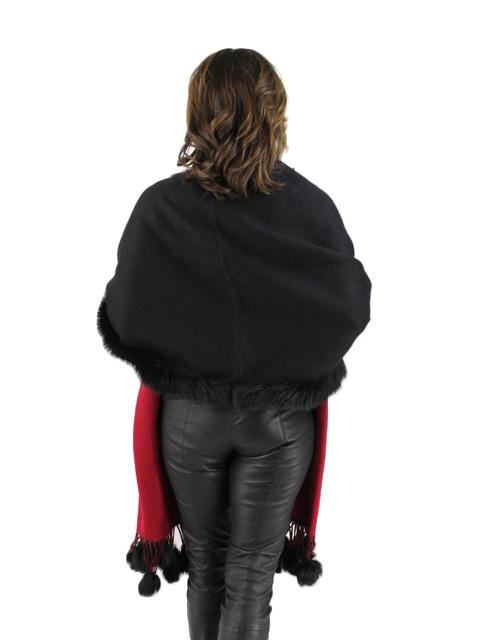 Black Red Cashmere Fox Fur Shawl