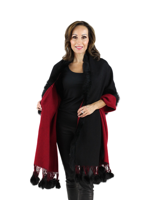 Black Red Cashmere Fox Fur Shawl