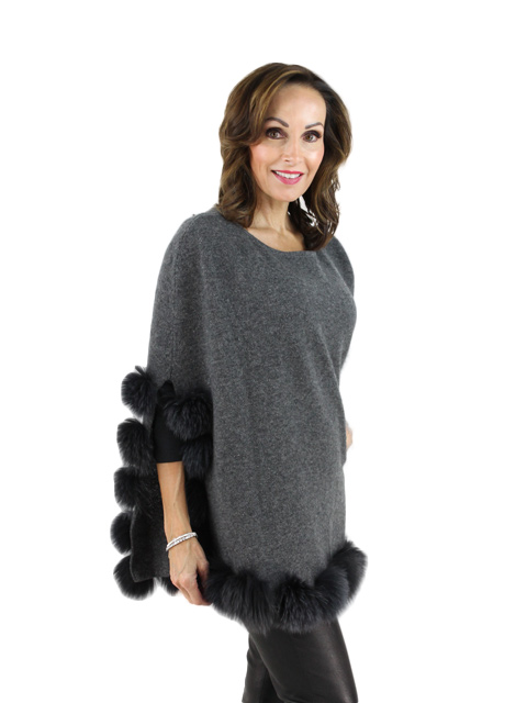 Charcoal Wool Fox Fur Capelet