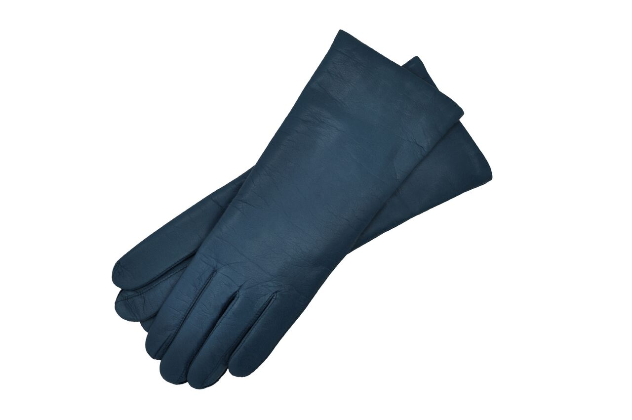 Navy Leather Gloves Womens Size 8