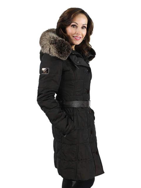 Gorski Woman's Espresso Apres Woman's Fabric Ski Jacket with Fox Trimmed Hood