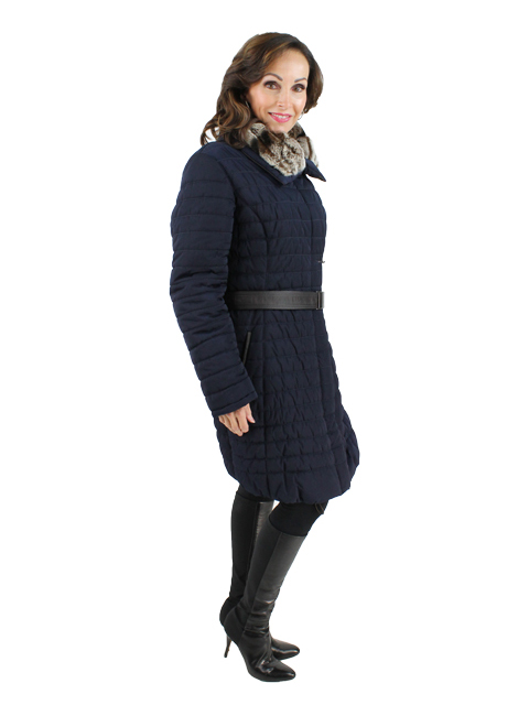 Gorski Navy Woman's Apres-Ski Coat with Dyed Brown Rabbit Collar
