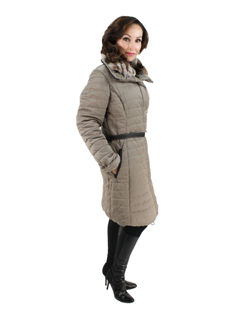 Gorski Zinco Woman's Apres-Ski quilted fabric Jacket with Dyed Rabbit Collar