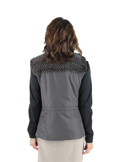 Woman's Sapphire Grey Nylon and Mink Fur Vest