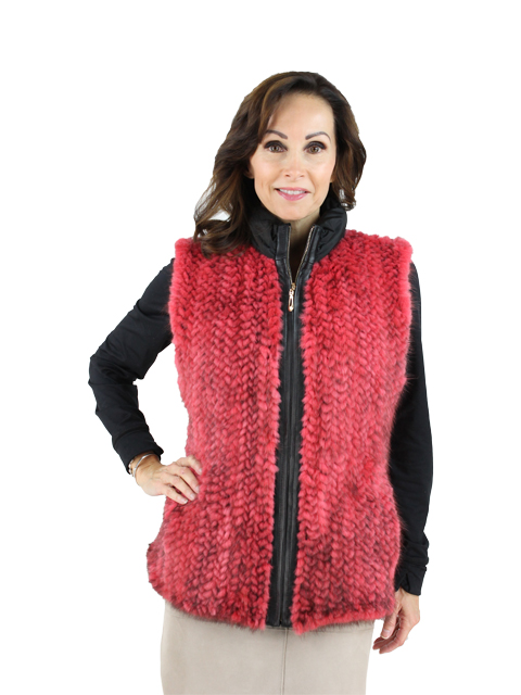 Woman's Red Mink Fur Knitted Vest
