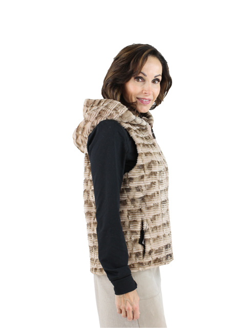 Woman's Beige Sectioned Mink Fur Vest