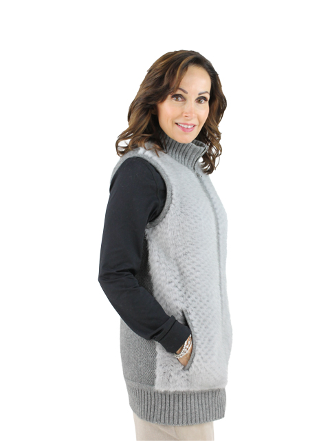 Woman's Sapphire Knitted Wool Punched Mink Vest