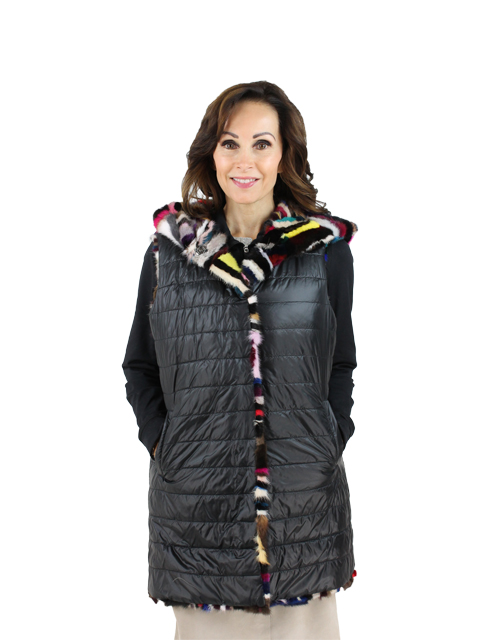 Woman's Multicolored Mink Fur Vest