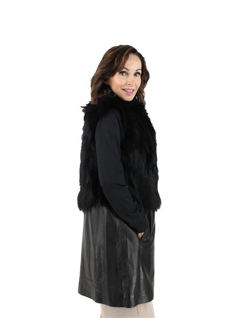 Woman's Black Fox Fur Vest with Leather Hem