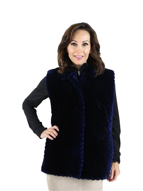 Woman's Blue Sapphire Sheared Beaver Vest