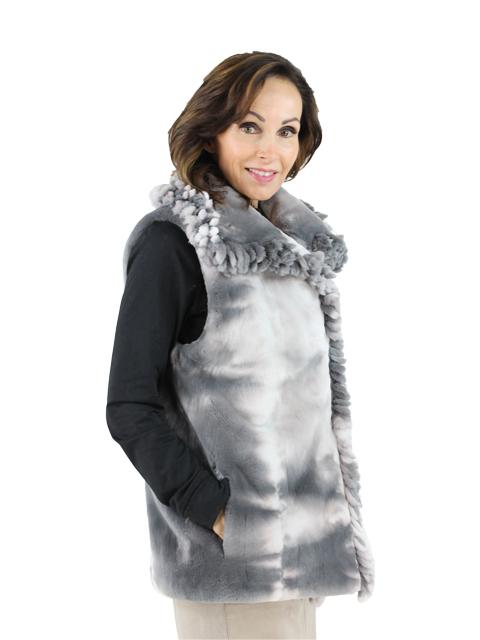 Woman's Silver Tye Dye Sheared Beaver Fur Vest