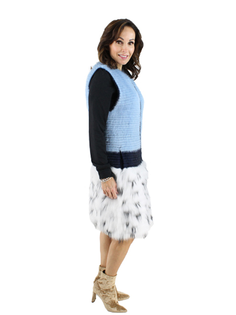 Woman's Light Blue and Navy Mink Fur Vest