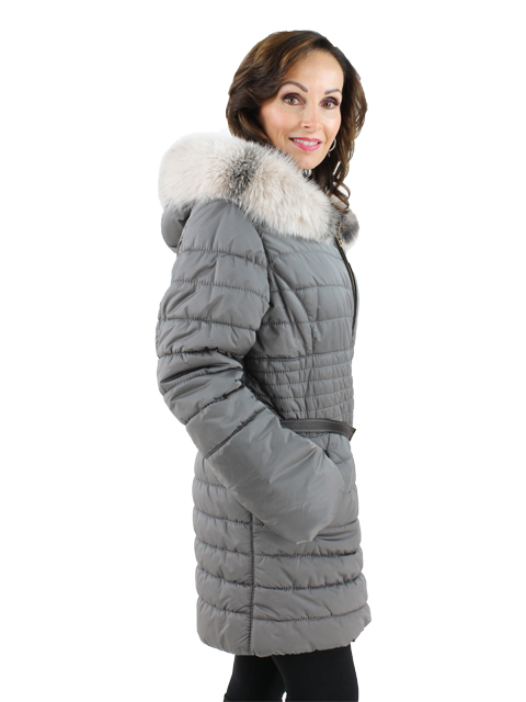 Gorski Grey Woman's Quilted Fabric Apres-Ski Jacket with Fox Trimmed Hood