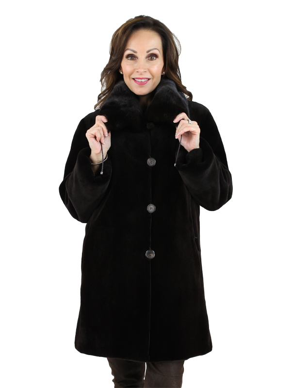 Woman's Gorski Brown Sheared Mink Fur Jacket