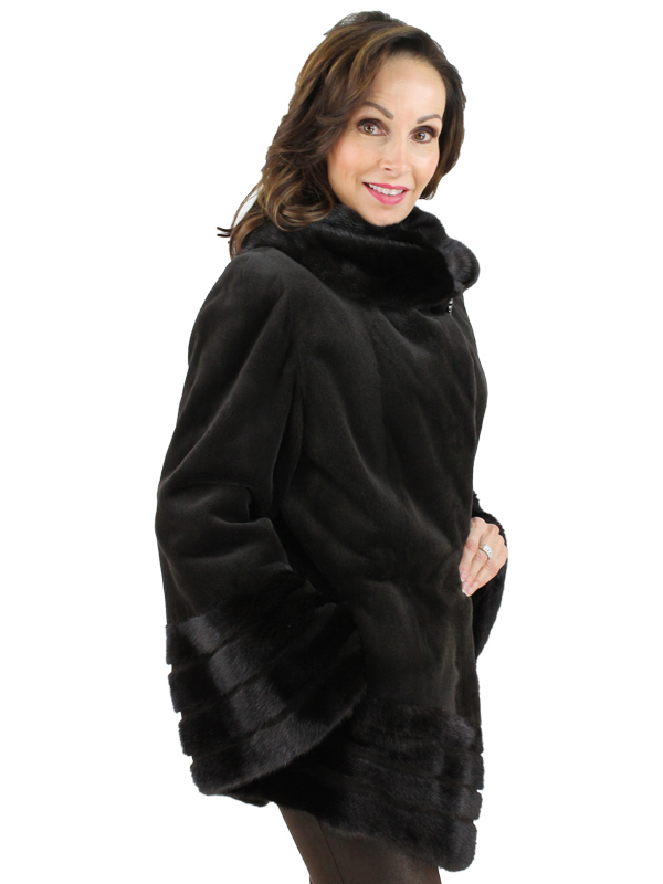 Gorski Woman's Dark Brown Sheared Mink Fur Stroller