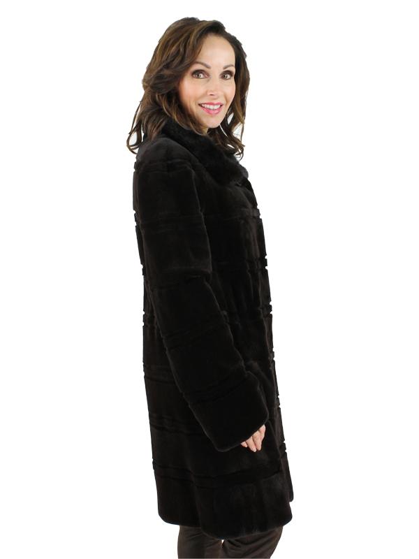 Gorski Woman's Dark Brown Sheared Mink Fur Stroller