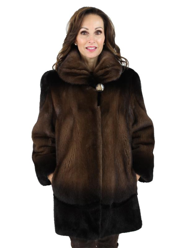 Woman's Brown Degrade Mink Fur Stroller