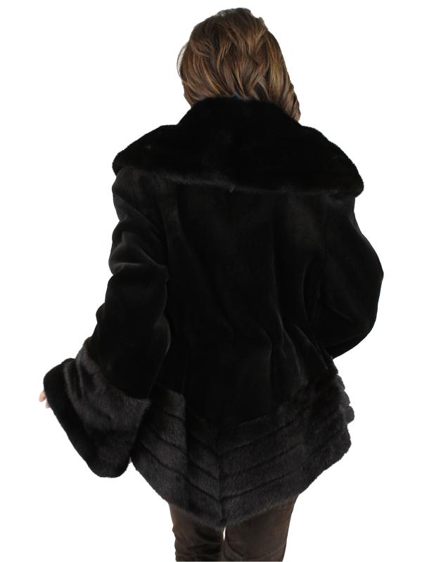 Gorski Woman's Dark Brown Sheared Mink Fur Jacket