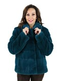 Woman's Teal Mink Fur Jacket