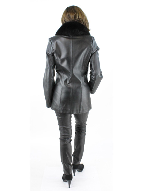 Petite Black Leather Jacket with Fox Collar