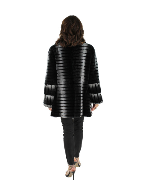 Woman's China Grey and Black Rex Rabbit Fur Jacket