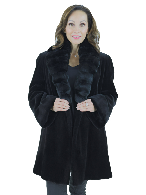 Woman's Black Sheared Mink Fur Stroller with Chinchilla Collar