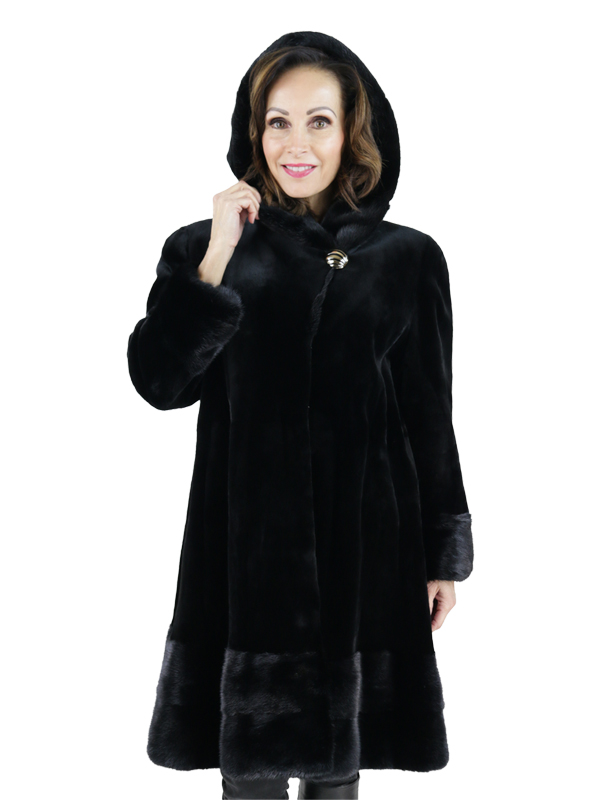 Woman's Black Sheared Mink Fur Coat with Traditional Mink Accents