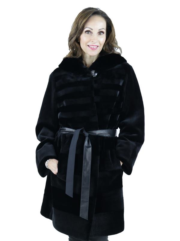 Gorski Black Sheared Mink Stroller Reversible to Silk