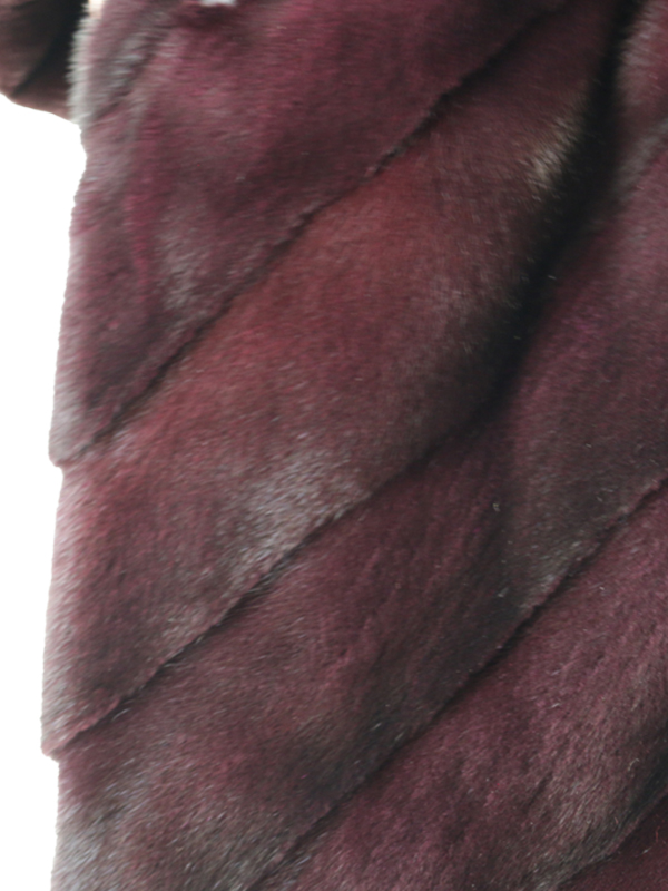 Gorski Burgundy Sheared Mink Stroller with Floral Lining