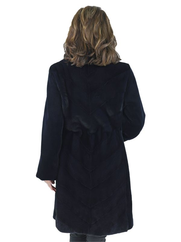 Navy Sheared Mink Chevron Coat with Floral Lining