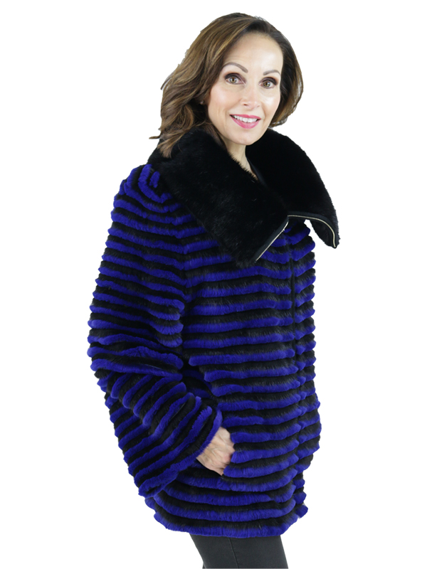 Woman's Electric Blue and Black Mink Fur Jacket